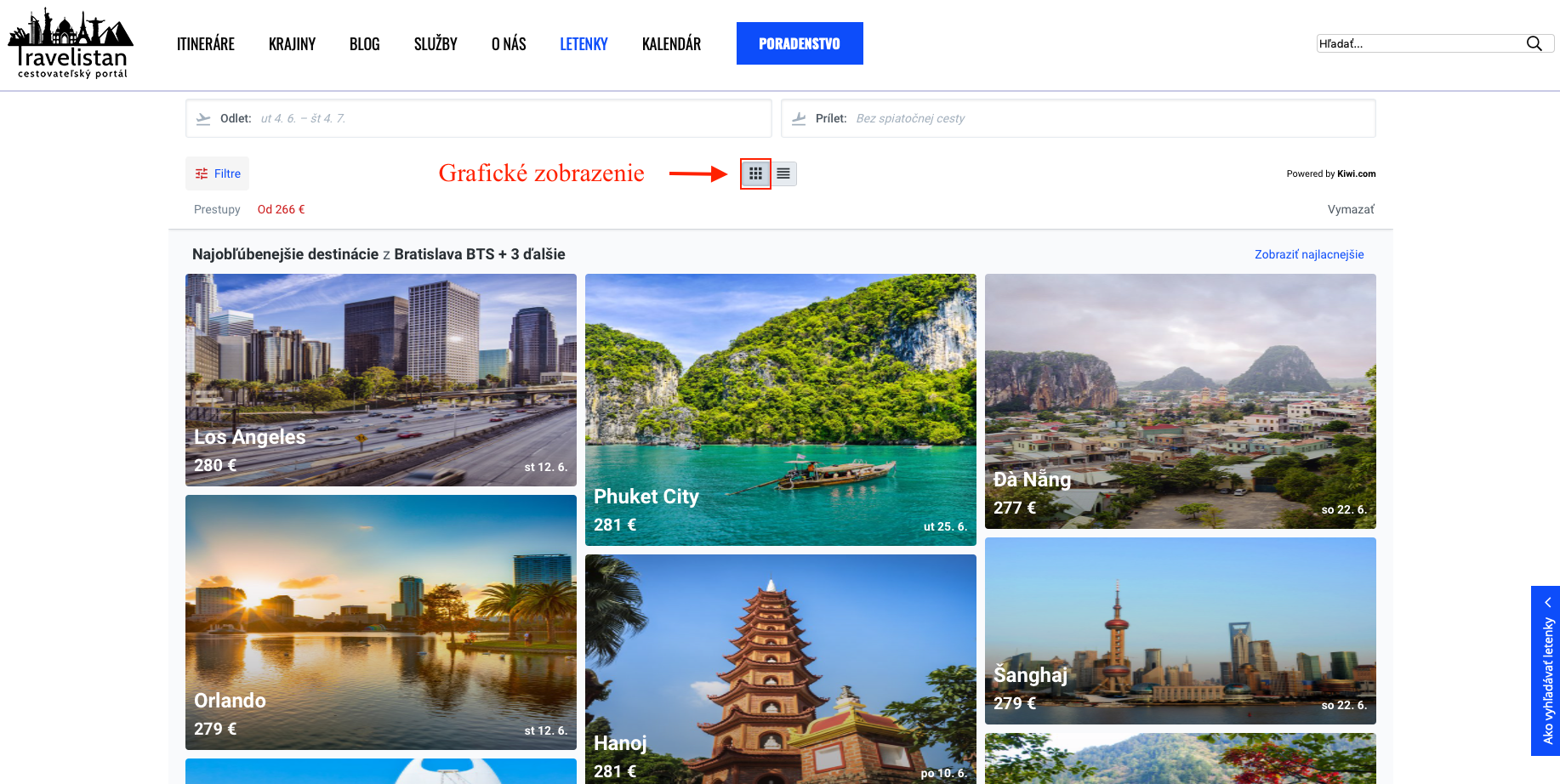 Návod ako vyhľadávať letenky na Travelistane