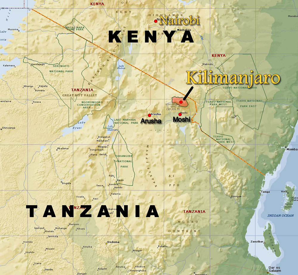 Kilimandžáro – najvyšší vrch Afriky (5 895 m)